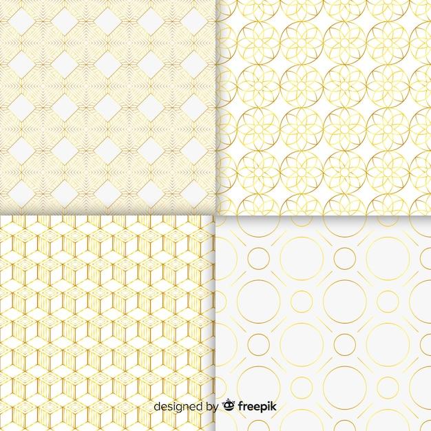 Набор геометрической коллекции роскошных узоров Бесплатные векторы