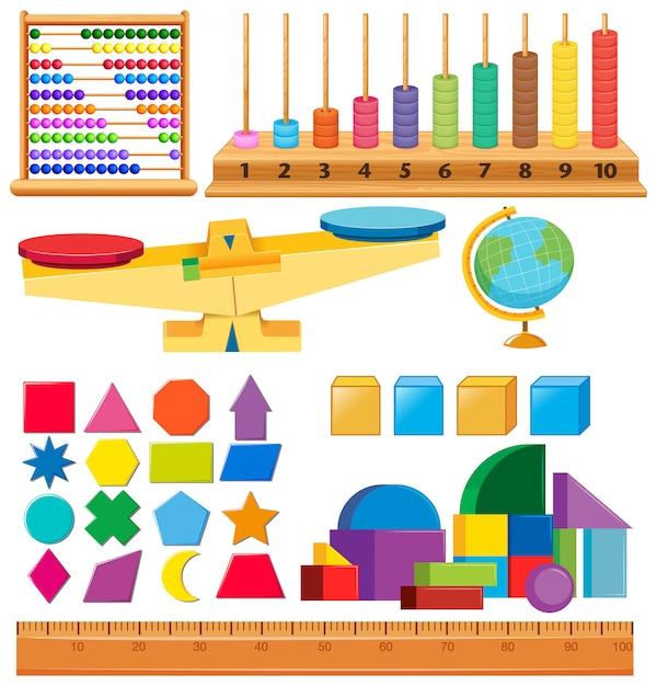 Набор геометрических фигур и других школьных предметов Бесплатные векторы