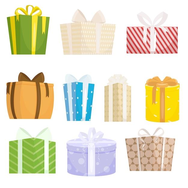 Набор подарочных коробок на белом фоне в мультяшном стиле Premium векторы