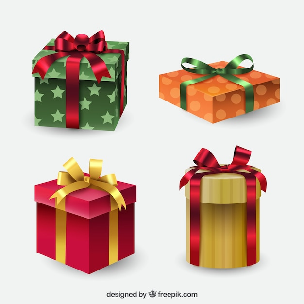 Set of gift boxes with bows vector free download set of gift boxes with bows free vector negle Choice Image