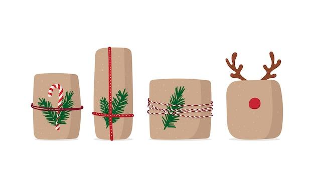 선물 상자 세트. 고립 된 크리스마스 선물 프리미엄 벡터