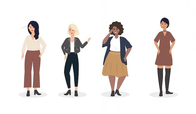 Набор девушек с современной повседневной одеждой Бесплатные векторы