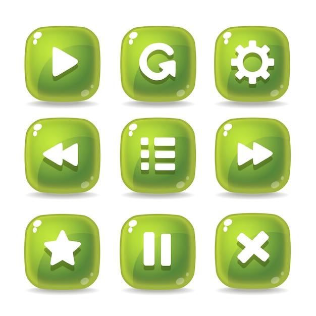 ゲームのインターフェイスのためのガラス緑色のアイコンを設定 Premiumベクター