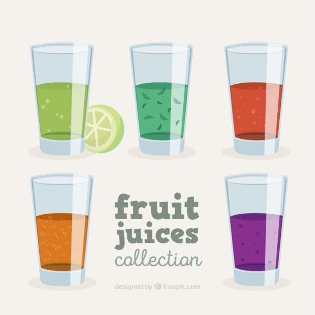 Set of glasses with fruit juices