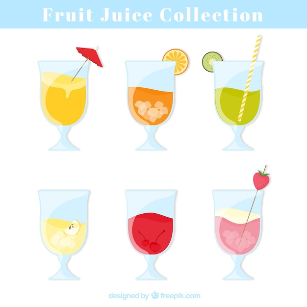 Set of glasses with tasty fruit juices