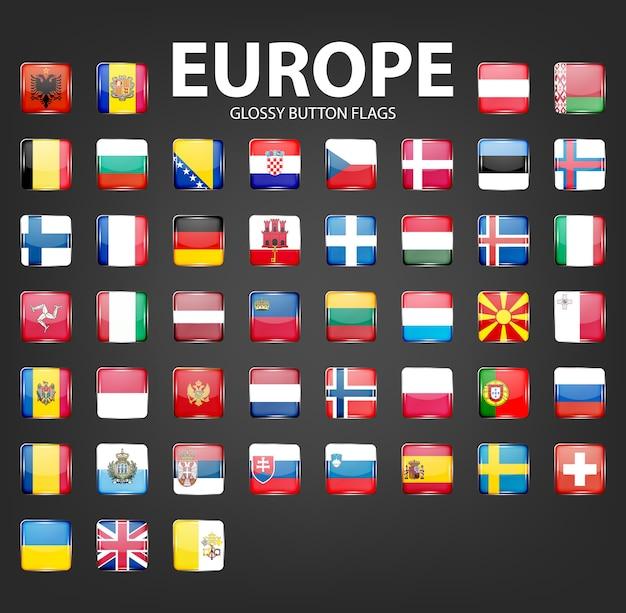 Набор флагов глянцевые кнопки - европа. Premium векторы