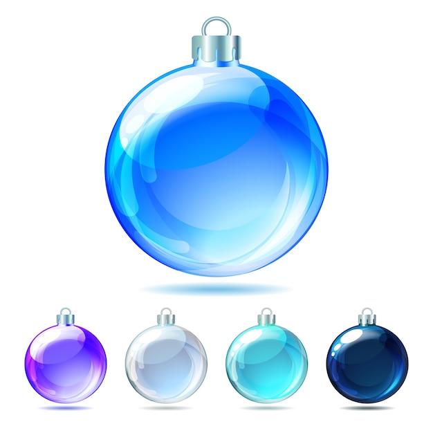 흰색 바탕에 광택 크리스마스 볼 세트입니다. 삽화. 프리미엄 벡터