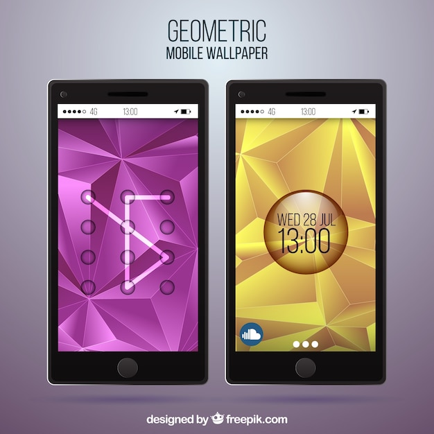 Set of glossy polygonal mobile wallpapers