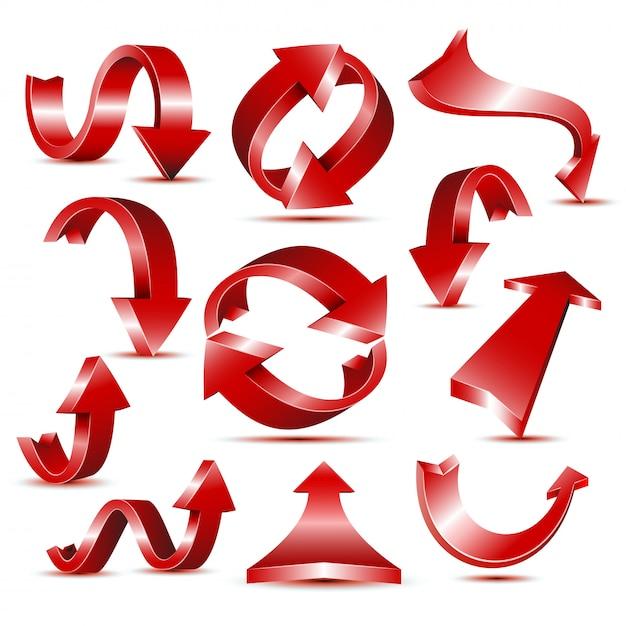 Webデザインやロゴのテンプレートの光沢のある赤い矢印アイコンのセットです。 Premiumベクター