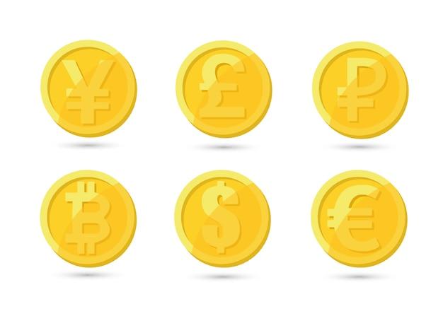 Набор золотых и серебряных криптовалют с золотым биткойном перед другими криптовалютами в качестве лидера, изолированного на белом фоне. использовать для логотипов, полиграфической продукции Premium векторы