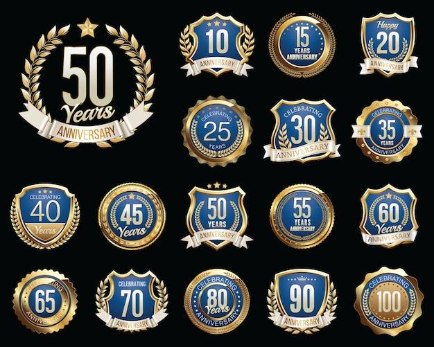 Набор значков золотой конец синий юбилей Premium векторы