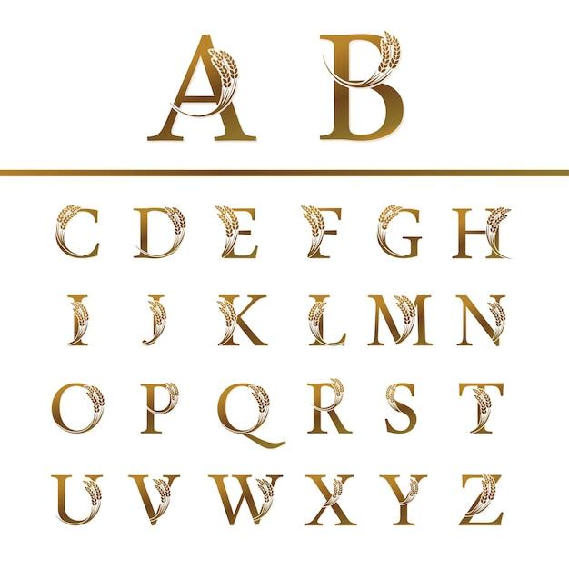 로고 디자인을위한 쌀과 금 편지 세트 프리미엄 벡터