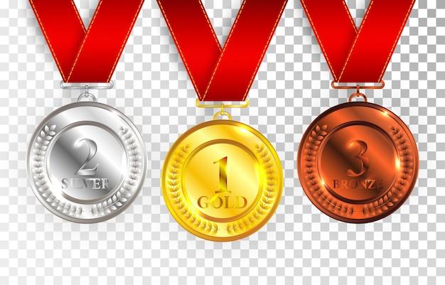 레드 리본 골드, 실버 및 브론즈 수상 메달의 집합입니다. 메달 라운드 투명 한 배경에 고립 된 빈 광택 컬렉션. 프리미엄 벡터