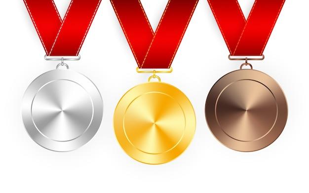 레드 리본 골드, 실버 및 브론즈 상 메달의 집합입니다. 메달 라운드 흰색 배경에 고립 된 빈 광택 된 벡터 컬렉션. 프리미엄 배지. 프리미엄 벡터