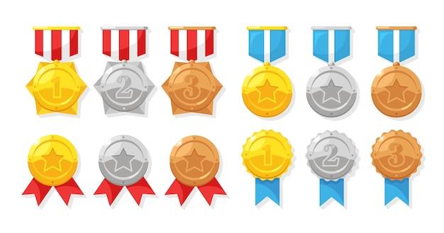 1 위를위한 스타와 함께 금,은, 동메달 세트. 트로피, 수상작을위한 수상 리본이 달린 황금 배지. 업적, 승리 개념. 프리미엄 벡터