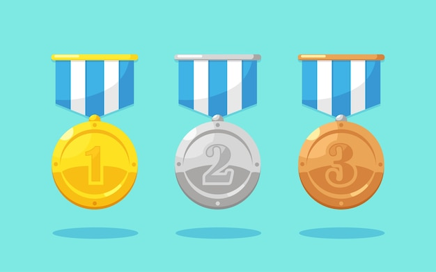 1 위를위한 스타와 함께 금,은, 동메달 세트. 트로피, 배경에 우승자 상. 리본으로 황금 배지입니다. 업적, 승리 개념. 프리미엄 벡터