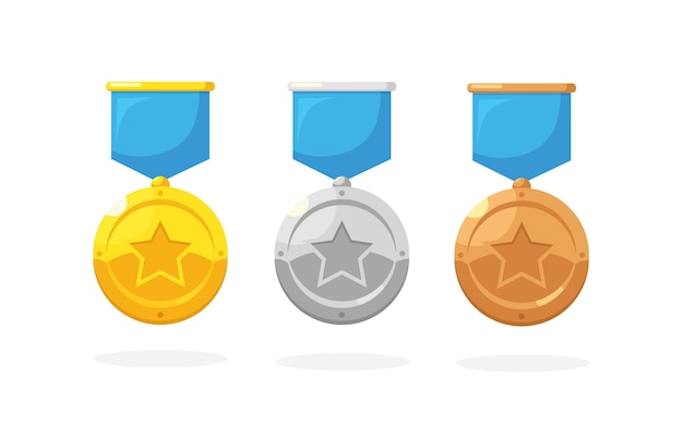 1 위를위한 스타와 함께 금,은, 동메달 세트. 트로피, 배경에 우승자 상. 리본으로 황금 배지입니다. 업적, 승리. 프리미엄 벡터