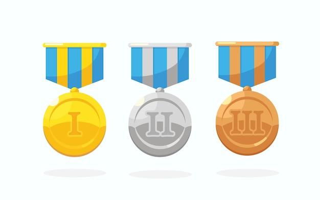 1 위를위한 스타와 함께 금,은, 동메달 세트. 트로피, 흰색 바탕에 우승자 수상. 리본으로 황금 배지입니다. 업적, 승리. 프리미엄 벡터