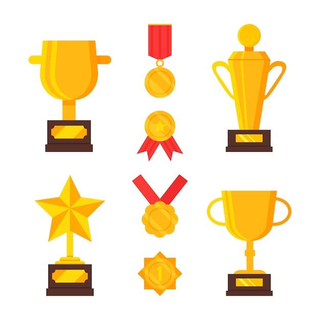 Набор золотых трофеев и медалей. награды за достижения. золотые кубки, приз победителю. плоский рисунок. мультяшный дизайн. Premium векторы