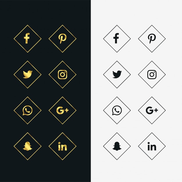 set of golden and black social media icons Free Vector