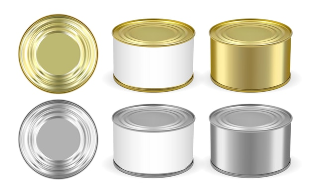 Набор золотой и серебряной металлической жестяной банки, изолированные на белом фоне Premium векторы