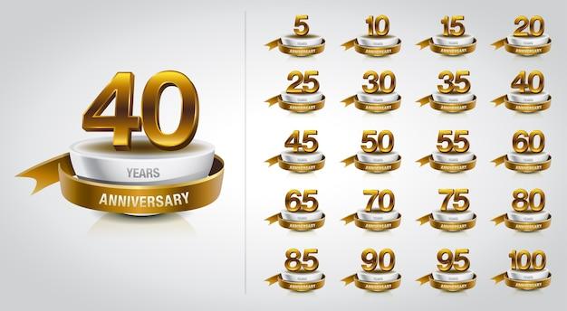 黄金の記念日のロゴのお祝いのセット Premiumベクター