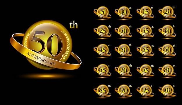 Набор золотой юбилейный логотип. с кольцом и лентой Premium векторы
