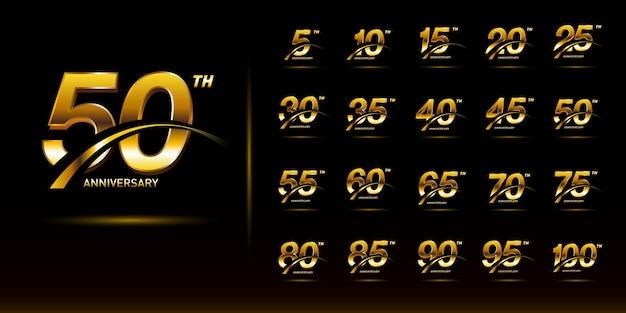 Набор номера золотой годовщины с празднованием логотипа swoosh Premium векторы