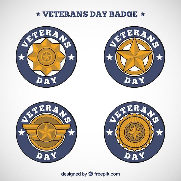 Set of golden badges of veterans day
