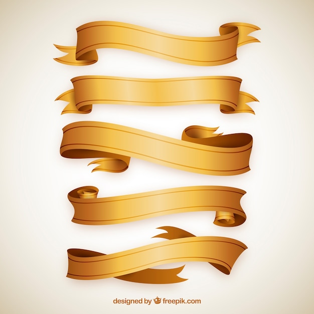 Set of golden ribbon with variety of designs Free Vector