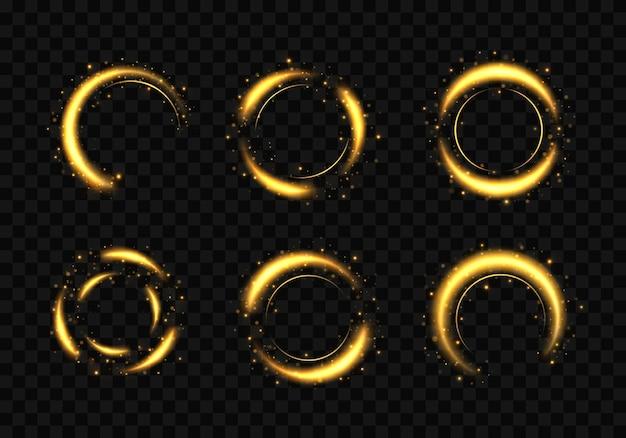 金の指輪のセット。キラキラ光の効果を持つゴールドサークルフレーム。 Premiumベクター