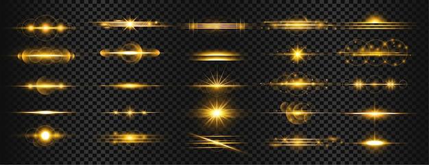 황금 투명 라이트 렌즈 플레어 줄무늬 세트 무료 벡터