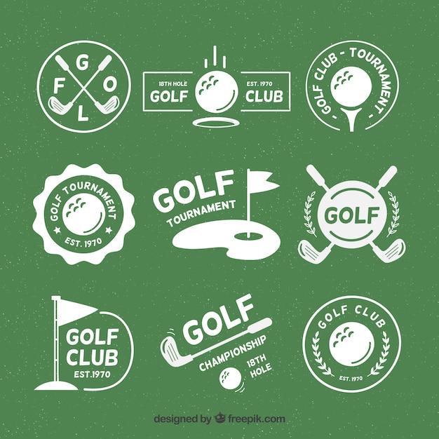 フラットスタイルのゴルフバッジのセット Premiumベクター