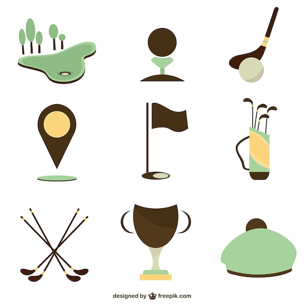 set of golf icons vector free download rh freepik com vector golf clubs vector golf tees