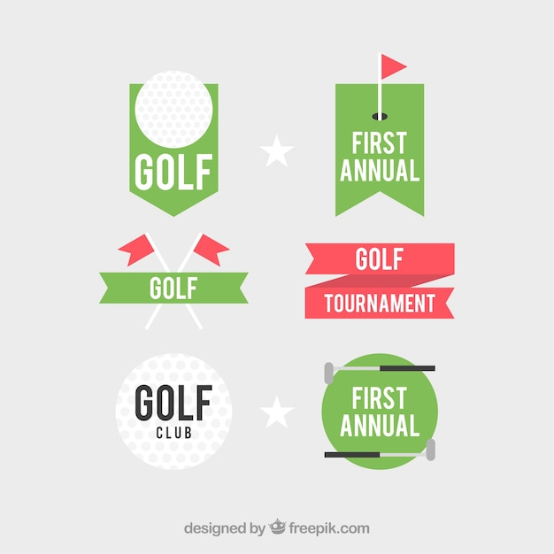 Set of golf labels in flat style Free Vector