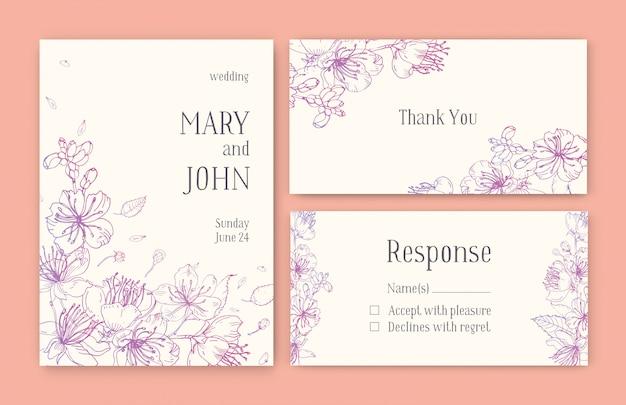Набор великолепных шаблонов для карты save the date, свадебного приглашения или благодарственной записки с цветами японской сакуры, нарисованными розовыми контурными линиями Premium векторы