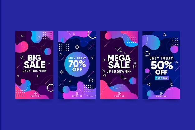Набор историй продаж instagram Бесплатные векторы