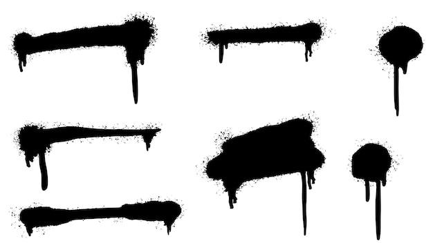 Набор граффити спрей нарисовал линии и точки гранж, изолированные на белом фоне. Premium векторы