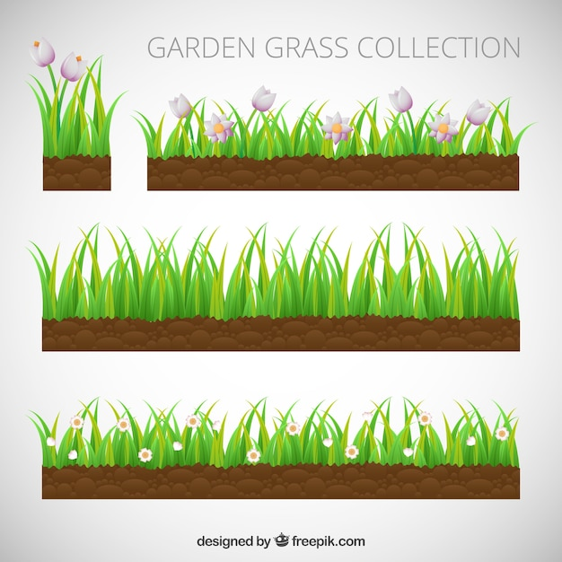 set of grass with flowers vector free download rh freepik com free vector grass pattern free vector glass buttons