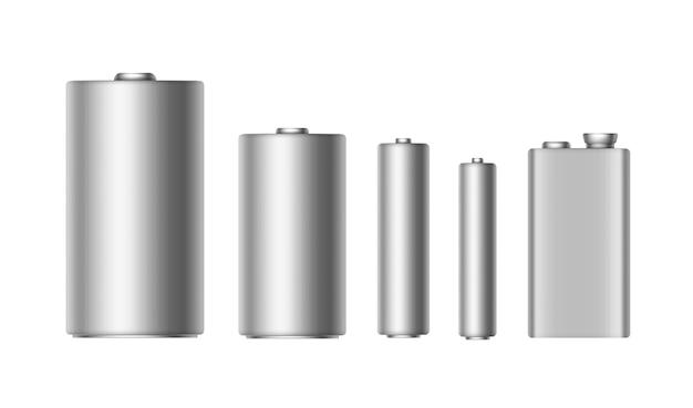 異なるサイズのグレーシルバーメタリック光沢のあるアルカリ電池のセットaaa、aa、c、d、pp3、ブランド化用の9ボルトバッテリークローズアップホワイトバックグラウンドの分離 Premiumベクター