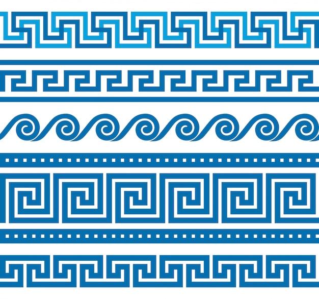 Набор греческих границ Premium векторы