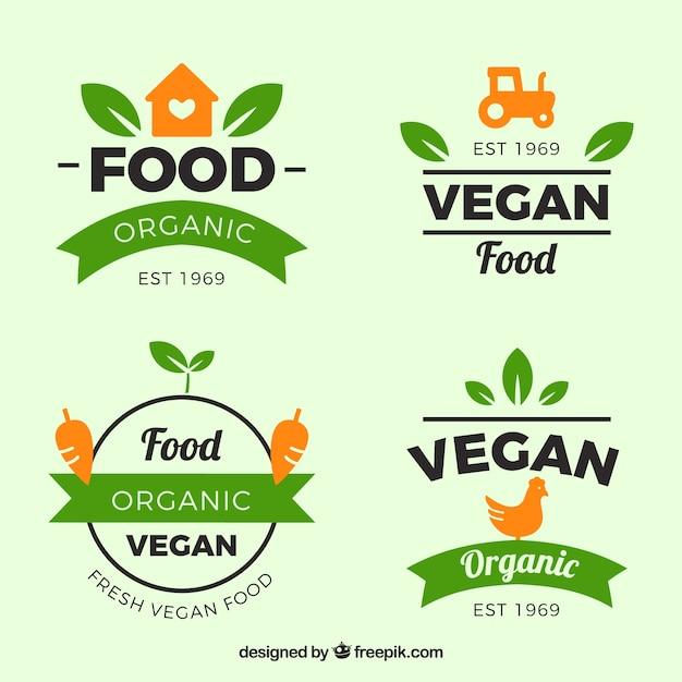 유기농 식품으로 녹색과 주황색 레이블 집합 무료 벡터