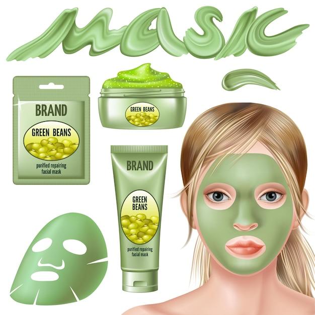 녹색 콩 마스크 및 얼굴 스크럽 세트. 무료 벡터