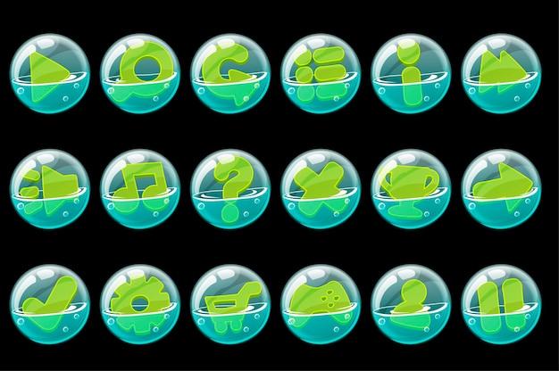 인터페이스에 대 한 비누 거품에 녹색 버튼의 집합입니다. 무료 벡터