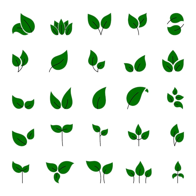 緑の葉の要素のセットです。この画像はイラストです。 Premiumベクター