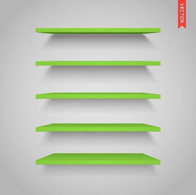 Набор зеленых пластиковых полок Premium векторы