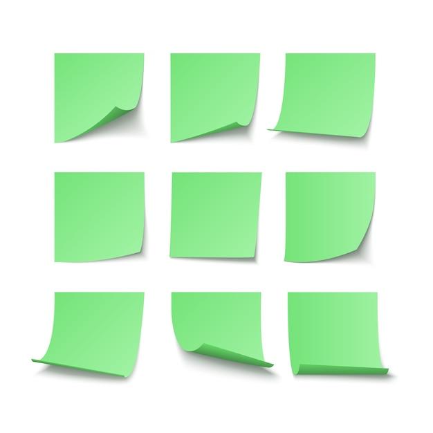 Набор зеленых наклеек с пространством для текста или сообщения. векторные иллюстрации, изолированные на белом фоне Premium векторы
