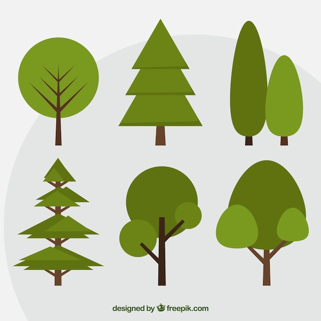 Set of green trees in flat design