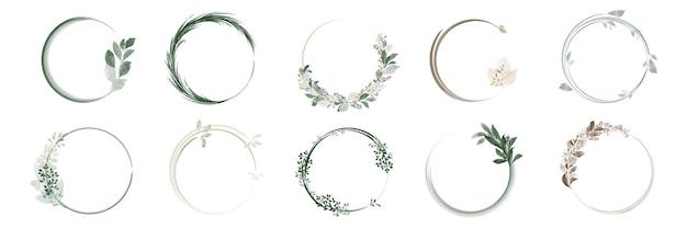 緑の葉の花輪と水彩画の手描きの花束フレームのセットです。 Premiumベクター