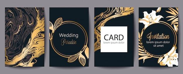 テキストのための場所でのグリーティングカードのセットです。結婚式の楽園。招待。黒と金の装飾。花のテーマ 無料ベクター